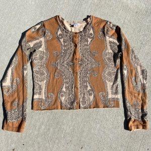 cropped paisley cardigan